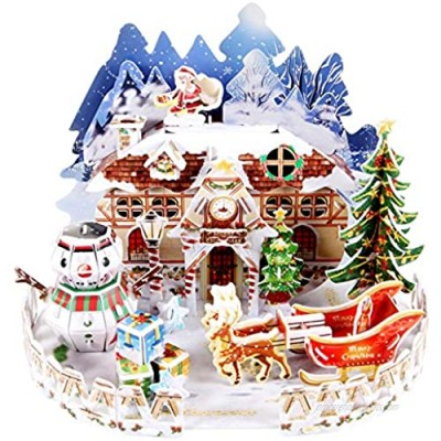 3D Puzzle for Kids Snow Cottage Model Kits Jigsaw Puzzles Family Toys Brain Teaser Puzzles for Boys and Girls Desk Room Decor Holiday Birthday Easter Gifts