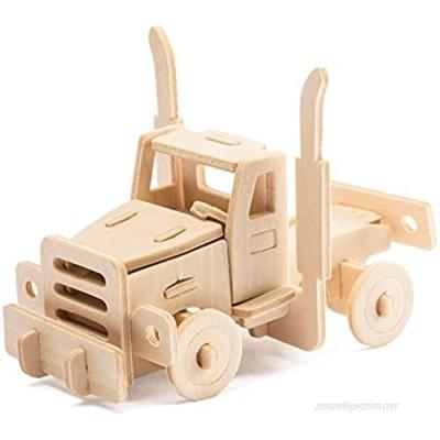 Wooden 3D Puzzles Truck Kit Build Car Wooden Truck Kit Car Model World Puzzle 20-pcs Wood Puzzle Car Model Kit (American Truck)