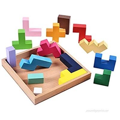 Wooden Brain Puzzle 3D Brain Teaser Puzzles 15 Piece