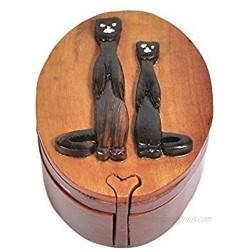 South Asia Trading Handmade Wooden Art Intarsia Trick Secret Cheetah 2 Africa Jewelry Puzzle Trinket Box (4471) (g3)
