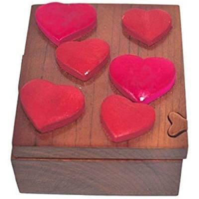 South Asia Trading Handmade Wooden Art Intarsia Trick Secret Valentine's Hearts Jewelry Puzzle Trinket Box (4600) (g3)