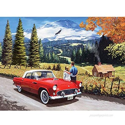 """Bits and Pieces - 300 Piece Jigsaw Puzzle for Adults 18"""" x 24"""" - A Stop to Look Back - 300 pc Car Drive Eagle Mountain Road Couple Forest Cottage Jigsaw by Artist Kevin Walsh"""