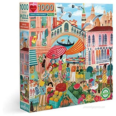 eeBoo's Piece and Love Venice Open Market 1000 Piece Square Adult Jigsaw Puzzle