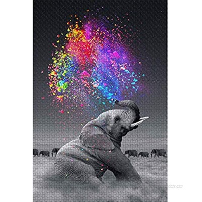 najiaxiaowu Classic Jigsaw Puzzle 1000 Pieces Adult Puzzle Wooden Puzzle Colorful Elephant DIY Modern Wall Art Picture Modern Art Home Decoration Creative Gifts 75X50Cm