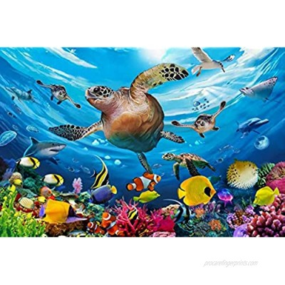 Ouriky 100 Pieces Puzzles for Kids Ages 4-8  Underwater Swim Turtle Jigsaw Puzzles for Toddler Children Learning Educational Puzzle Toy