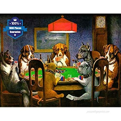 """Puzzles for Adults 1000 Pieces Puzzles Jigsaw Puzzles for Adults DIY Puzzle Game Artwork Game Toys Gift for Kids -Dogs Puppy Playing Cards Puzzles 29.5"""" 19.7"""""""