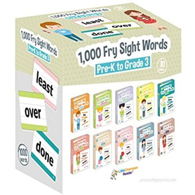 Little Champion Reader 1 000 Sight Fry Dolch Word-List Flashcards in 10-Pack Bundle Set  Pre-K to 3rd Grade  Teaches 1 000 Dolch Fry High-Frequency Sight Words