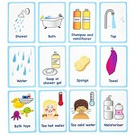 My Bath time Routine Cards 12 Flash Cards for Visual aid Special Ed Speech Delay Non Verbal Children and Adults with Autism or Special Needs