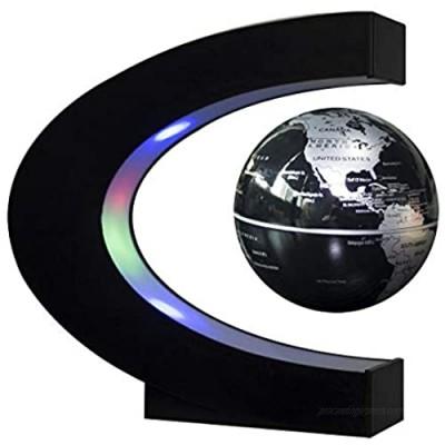 Aryellys Magnetic Levitation Floating Globe with LED Lights  C Shape Floating Globe World Map  Perfect Magnetic Map Desk Globe (Black Globe)