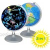 CYHO Illuminated World Globe - USB 2 in 1 LED Desktop World Globe  Interactive Earth Globe with World Map and Constellation View Fit for Kids Adults  Ideal Educational Geographic Learning Toy (G-1)