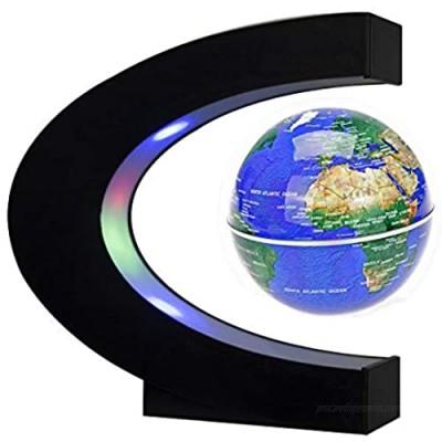 Floating Globe with LED Lights C Shape Magnetic Levitation Floating Globe World Map for Desk Decoration (Blue)