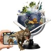 FUN GLOBE 3 in 1 LED AR Explore World Globe Desktop Decoration Geographic Earth Globes for Kids & Adults for Educational/Office Supplies/Indoor Decorations/Holiday Gift (Navy 8 in)