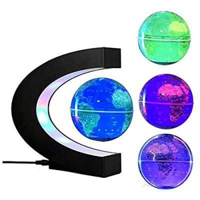 FUZADEL Multi-Color Changing Levitating Globe Desk Lamp Magnetic Levitation Floating Globe World Map Educational Gifts for Home / Office Desk Decoration Ornament