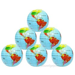 Kicko Inflatable World Globe - 16 Inch 6 Pack Political and Topographical Globes  Learning Resources