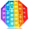 Octagon Silicone Push Bubble Fidget Toy Stress Reliever(Rainbow) - The Take Anywhere  Bubble-Popping Sensation Sensory Toy