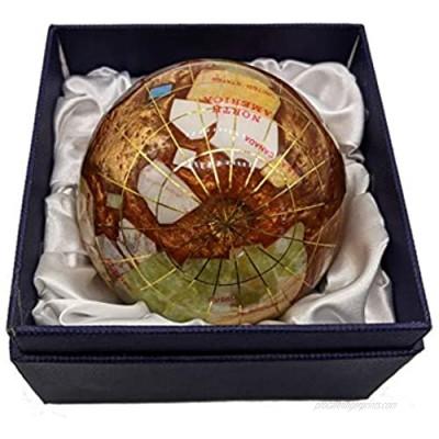 Unique Art 3-Inch amber Pearl Swirl Ocean Gemstone World Globe Paper Weight