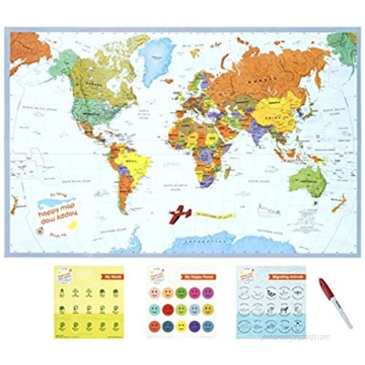 """World Happy Map Educational Laminated World Map 34"""" X 22"""" 