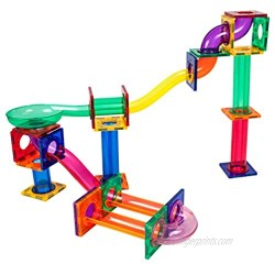 PicassoTiles Marble Run 50-Piece Magnetic Tile Race Track Toy Play Set STEM Building & Learning Toys  Educational Magnet Construction  Child Brain Development Kit Boys Girls Age 3 4 5 6 7 8+ Years Old