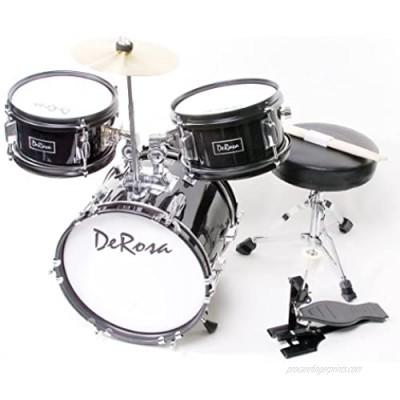 De Rosa DRM312-BK Children's 3-Piece 12-Inch Drum Set with Chair  Black