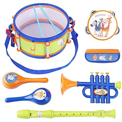 iPlay  iLearn Toddler Musical Instruments Toys  Kids Drum Set  Baby Trumpet  Percussion  Harmonica  Maraca  Flute  Tambourine  Birthday Gifts for 18 Months Olds Ages 2 3 4 5 Years Boys Girls Children