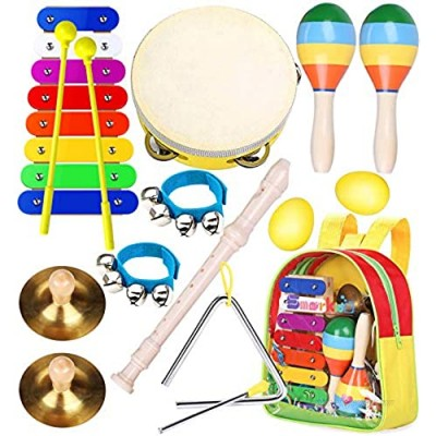 Toddler Musical Instruments Toys- Smarkids Premium Accurately Tuned Percussion Musical Instruments for Kids Children Educational Toy Set for Boys& Girls with Xylophone Flute Tambourine Maraca Backpack