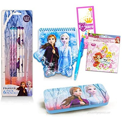 Disney Frozen Crafts Bundle Frozen School Supplies Set - 15 Pc Frozen Stationary Supplies with Pencils  Notebook  Palace Pets Stickers  and More!