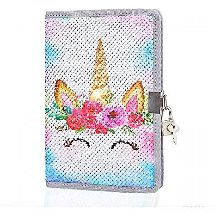 MHJY Unicorn Notebook Sequin Secret Diary with Lock Reversible Mermaid Sequin Notebook Private Journal Magic Travel Journal Unicorn Notebook for Adults and Kids