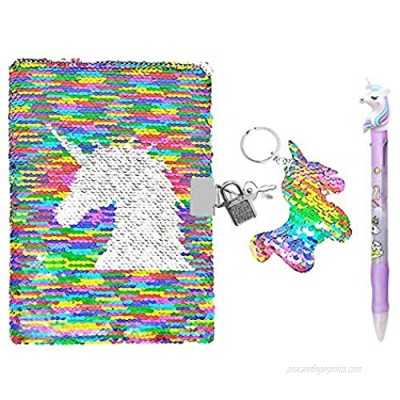 QearFun Unicorn Sequin Journal Mermaid Sequin Notebook with Ballpoint Pen Reversible Sequin Journal Flip Sequin Notebook for Kids Girls Diary Unicorn Journal Gifts (Multicolor with lock)