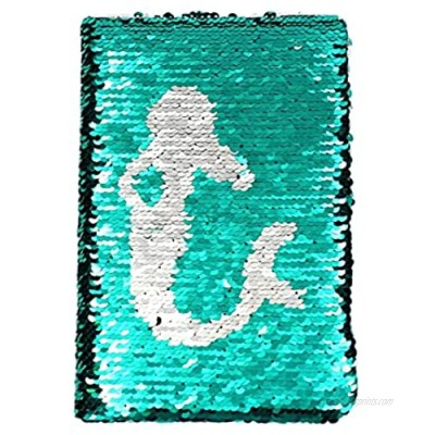 Sequin Notebook - Mermaid Reversible Sequin Journal – Magic Travel Journal Notebook Gift for Adults and Kids (Silver Mermaid)