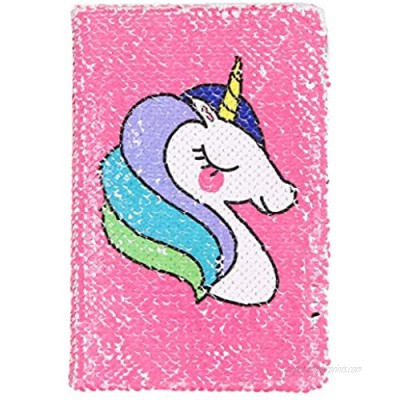 Unicorn Notebook New A5 Notebook Color Reversible Sequin Unicorn Diary Notebook Magic Sequin Journal Rainbow Notebook DIY Painting Magic Daily Journal Notebook for Kids (Rose Red)