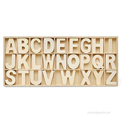 Alphabet Letters Tray  104-piece Wooden ABC Letters in Unfinished Wood Tray  by Woodpeckers