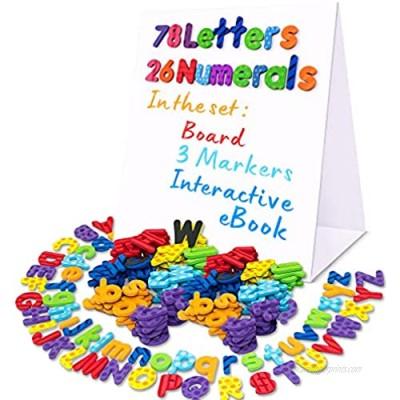 Alphabet Magnets - Magnetic Letters - ABC Magnets - 78 Foam Letters - 26 Kids Magnetic Numbers - Dry Erase Board for Kids - Fridge Toddler Magnets for Kids