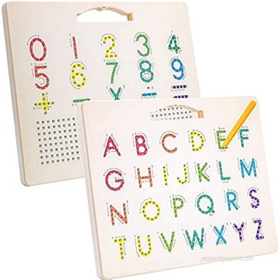 Hautton Magnetic Letters Board  2 in 1 Alphabet ABC Uppercase Letter Tracing Board and Number Tracing Board  Learn Writing Drawing Tablet with Stylus Pen Educational Toy for Toddlers Kids Preschool