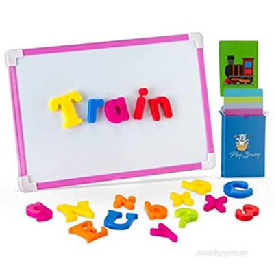Play Brainy ABC Magnets Set with 30 Fun and Educational Picture Spelling Cards – 78 Piece Magnetic Alphabet and Number Set – Magnetic Board Included – Great for Home & Classroom Use- Magnetic Letters