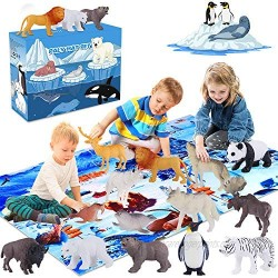GINMIC Polar Animals Figurines Toys with Large Activity Play Mat  Educational Realistic Animal Figures Toys Playset Including Penguin  Polar Bear and More  for 3 4 5 6 7 8 Boys & Girls