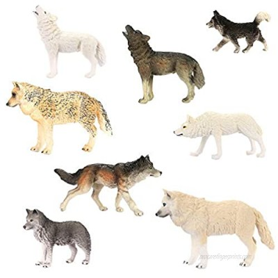 Intsun Wolf Toys Figures 8Pcs  Animal Toys Wolf Figurines Zoo Pack  Realistic Hand-Drawn Figurines  Cool Collection & Exhibits Best Gift for Boys & Girls