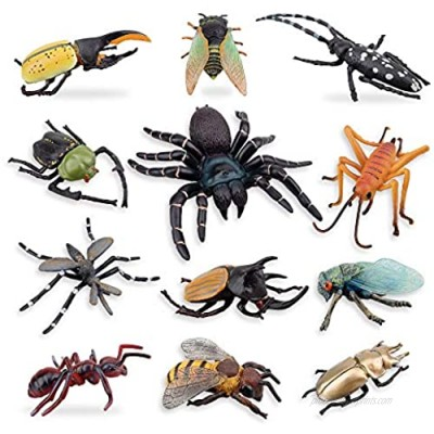 TOYMANY 12PCS Realistic Insects Figures Toys - Plastic Bugs Figurines Set with Cicada Cricket Scarab Bee Ant Spider - Halloween Party Favor School Project Christmas Birthday Gift for Kids Toddlers