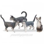 TOYMANY 8PCS Grey and Orange Cat Figurines Realistic Small Cat Figures Toy Set Kitten Educational Toy Easter Eggs Cake Topper Christmas Birthday Gift Diorama School Project for Kids Children