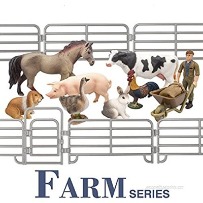 TOYMANY Solid Realistic 14PCS Farm Animal Figures Set with Fence  Farm Animals Playset Includes Farmer Horse Cow Pig Hen Duck Rabbits  Birthday Christmas Toy Gift for Kids Toddlers Children