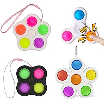 Beilunt 4 Packs Simple Dimple Fidget Toys  Stress Relief and Anti-Anxiety Handheld Mini Silicone Popper Toys Squeeze Bubble Sensory Toys for Kids