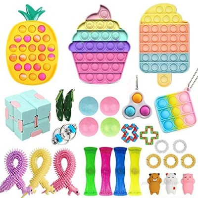 Fidget Toy Pack  Cheap Sensory Fidget Pack Stress Relief Toys Set with Pop Bubble Marble Mesh Pop Anxiety Tube for Kids Adult (Fidget Pack m)