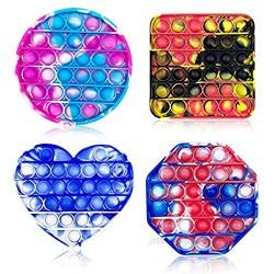 Jofan 4 Pack Pop Sensory Fidget Toys Set Silicone Squeeze Bubble Sensory Toys for Kids Students Friends Family Stress Relief