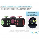 PILPOC theFube Fidget Cube - Premium Quality Fidget Cube with Exclusive Protective Case Stress Cube Stress Relieve Toy Reduce Anxiety for ADHD OCD Autism (Black & Light Blue)