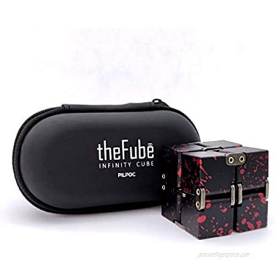 PILPOC theFube Infinity Cube Fidget Desk Toy - Premium Quality Aluminum Infinite Magic Cube with Exclusive Case  Sturdy  Heavy  Relieve Stress and Anxiety  for ADD  ADHD  OCD (Black & Red)