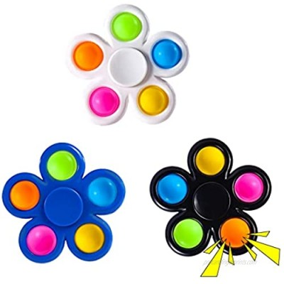 wellvo Fidget Spinners 3 Pack Push Bubble Fidget Toys Fidget Packs ADHD Sensory Hand Spinner Toy for Kids Adults Autism Anxiety Stress Relief Reducer