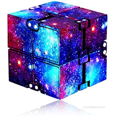 YALAMI Infinity Cube Fidget Toy for Kids and Adults  Mini Stress Relieving Fidget Cube for Teens Boys/ Girls  Unique Anxiety Relief Sensory Toys for Autistic Children ADHD (Galaxy)