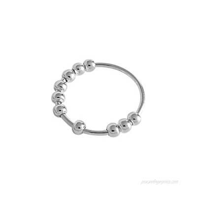 925 Sterling Silver Anxiety Ring Fidget Ring Women Spinner Rings Anxiety Fidget Ring Anxiety Ring with Beads Stress Relief Ring  Spinner Ring