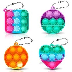 CAMTOA 4 PCS Mini Push Pop Bubble Fidget Sensory Keychain Toy  Decompression Simple Toy  Special Needs Anxiety Stress Reliever  Squeeze Silicone Toy for Kids  Family and Friends