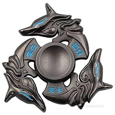 Mtele Fidget Spinner Metal Hand Spinner EDC ADHD Focus Toy Ultra Durable High Speed Anxiety Relief Toy Black Fox