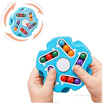 QQchickchicky Fidget Spinner Magic Bean Toys Rubix Cube Toys for Adult/Kids Blue Decompression Rotating Magic Bean Puzzles Beads Children AutismAnxiety Relief Toys for Offce Home School